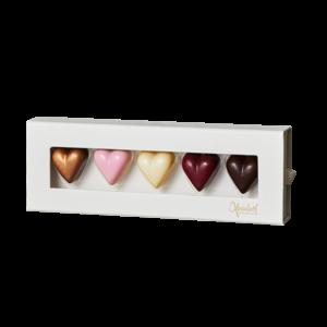 5 chokoladehjerter fra Xocolatl