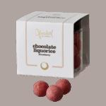 Hvid chokolade/lakridskugler med jordbær fra Xocolatl